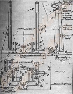 Дежеопрокидыватель двухвинтовой ПО-1 для подъема, опрокидывания, опускания дежи емкостью 330 литров (высота 1800 мм, время 90 сек) - фото 6099