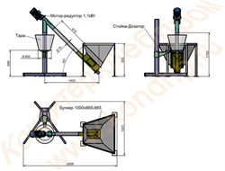 Дозатор сыпучих продуктов для затаривания мешков, с управляющим контроллером, с бункером на 180 литров и загрузочным шнеком углеродистая сталь / нержавеющая сталь - фото 7062